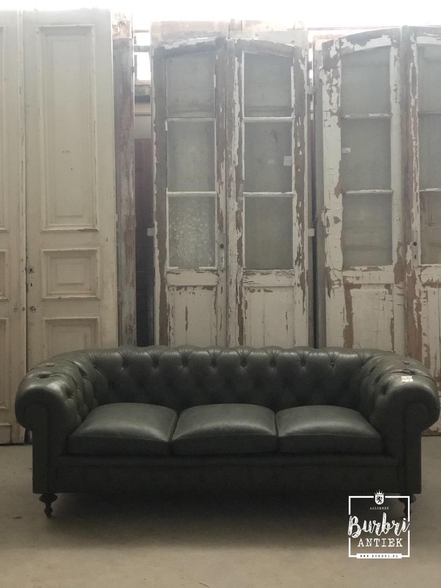 Donkergroene Leren Bank.Antique Green Leather Bench Antieke Banken Antieke Meubels Burbri