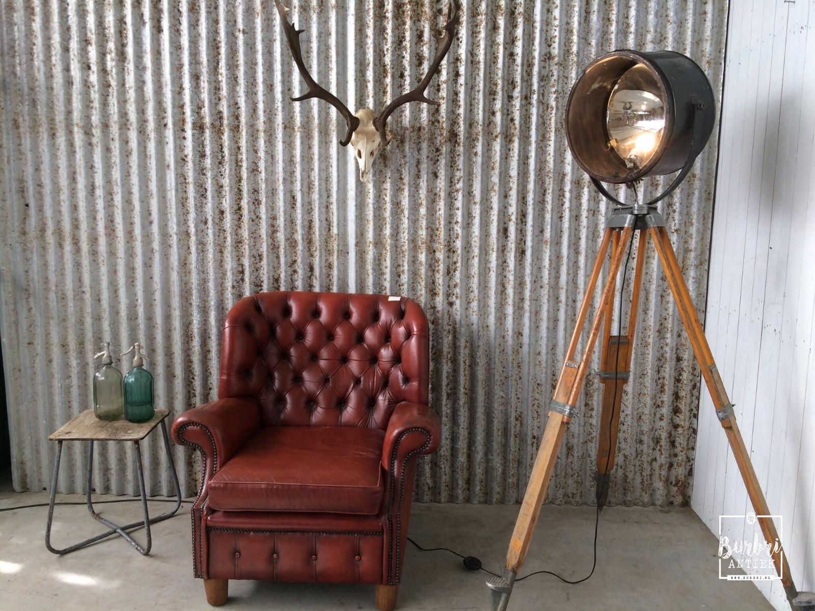 Industriu00eble lamp op hout statief - Industriu00eble Verlichting - Burbri