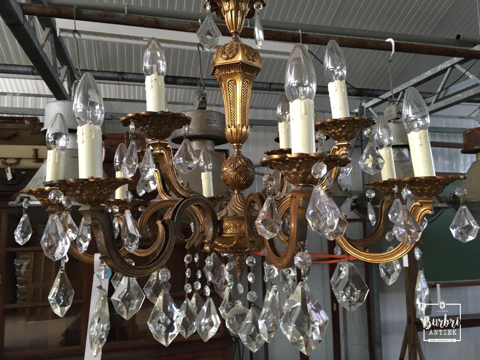 Kristallen kroonluchter klassiek antieke verlichting for Kristallen kroonluchter schoonmaken